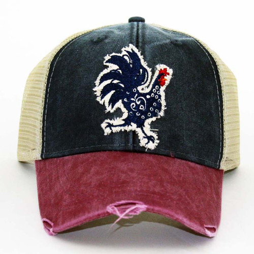 IT Hat-Distressed Trucker Burg/Navy-T