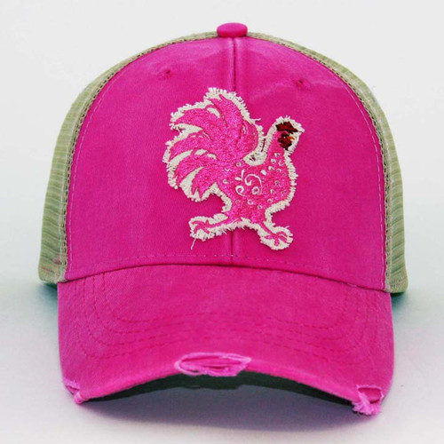 IT Hat-Distressed Trucker Neon Pink