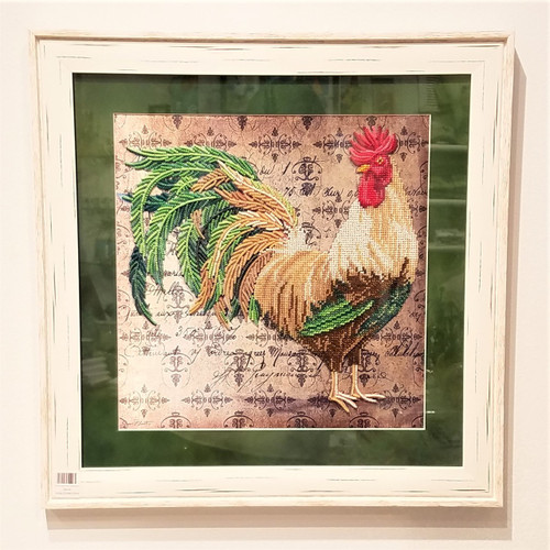 SK Green Bead Hand Embroidered Rooster