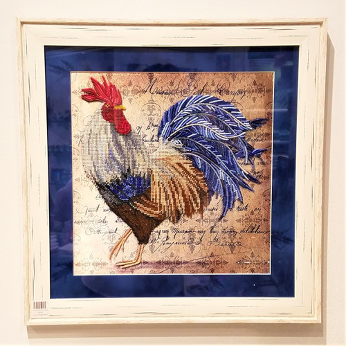 SK Sapphire Bead Hand Embroidered Rooster