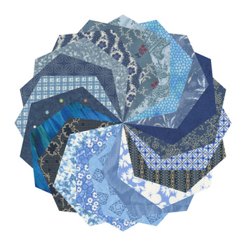 Mixed Blues - 5'' Hexagons