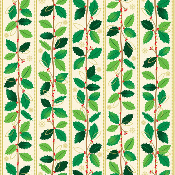 Benartex - Merry & Bright - Holly Leaves Stripe- 1 Yard - 8798M/07