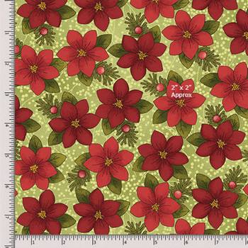 Benartex - Moose for Christmas - Poinsettias - 1543/4