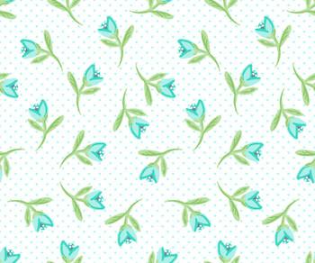River's Bend - Not Too Shabby - Flowers Allover - Aqua