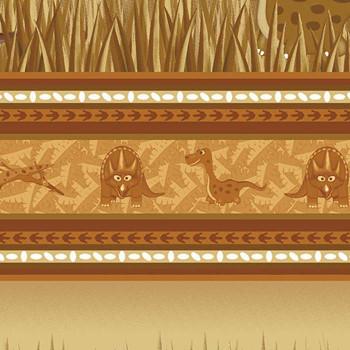 Benartex - Dino Age - Dinosaur Stripes - Brown