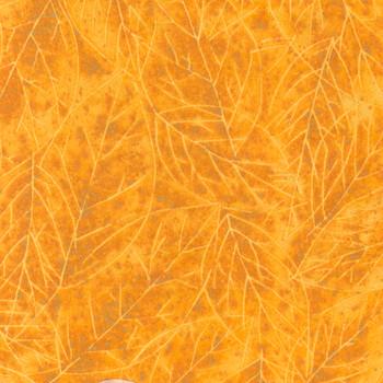 Riverwoods - Falling Leaves Flannel - Leaves Texture - Orange