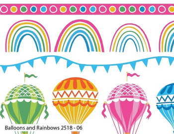 Craft Cotton Co - Hot Air Balloons - Balloons & Rainbow - White/Multi