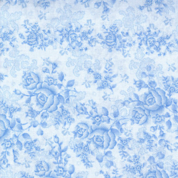 Benartex - Homestead Wide - Climbing Roses/Tonal - Sky Blue