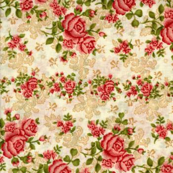 Benartex - Homestead Wide - Climbing Roses - Beige