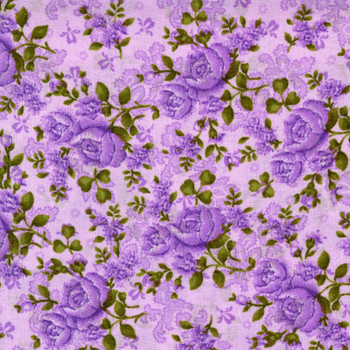 Benartex - Homestead Wide - Climbing Roses - Purple