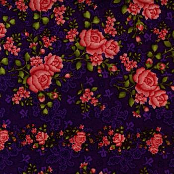 Benartex - Homestead Wide - Climbing Roses - Dk Purple
