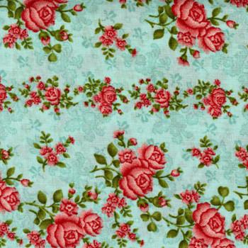 Benartex - Homestead Wide - Climbing Roses - Turquoise