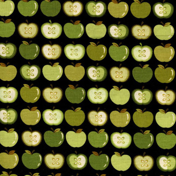 Benartex - Sunflower Daze - Green Apples - Black