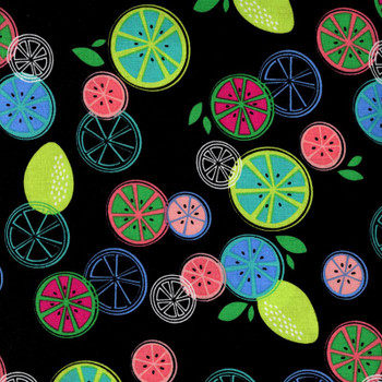 Benartex - Happy Hour 3 - Fruit Slices - Black