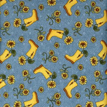 Benartex - Sunshine Garden - Boots & Sunflowers - Cream