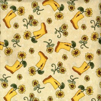 Benartex - Sunshine Garden - Boots & Sunflowers - Blue