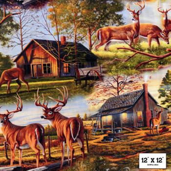 David Textiles - Homestead Farm - Deer at the Lodge - Multi