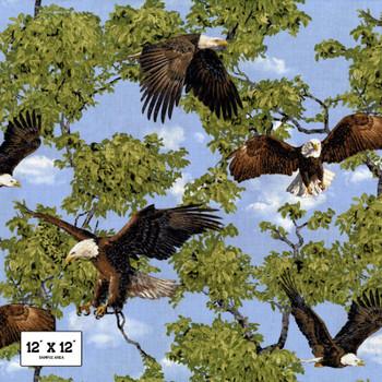 Fabri-Quilt - Born Free - Eagles Allover - Multi