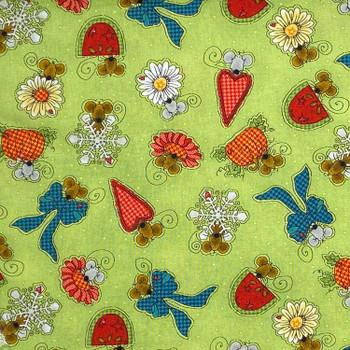 Henry Glass - Doodle Days Calendar - Mice Snowflakes Flowers - Lt Green