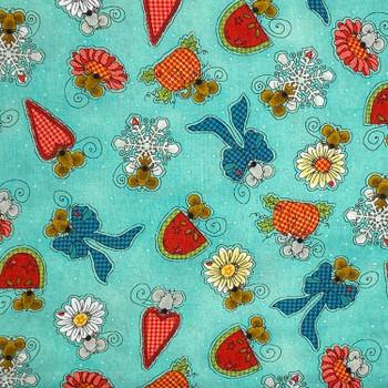 Henry Glass - Doodle Days Calendar - Mice Snowflakes Flowers - Aqua