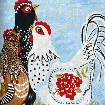 River Woods - Three French Hens - 3 Hens Panel - Multi