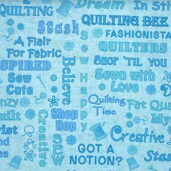 Henry Glass - Shop Hop - Quilting Text - Lt Blue