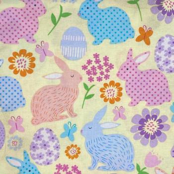 Benartex - Love Bunny - Easter Bunnies & Eggs - Lt Yellow