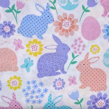 Benartex - Love Bunny - Easter Bunnies & Eggs - White