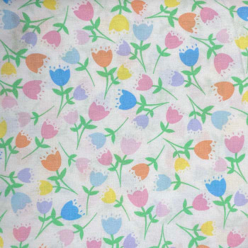 Benartex - Love Bunny - Tossed Tulips - White