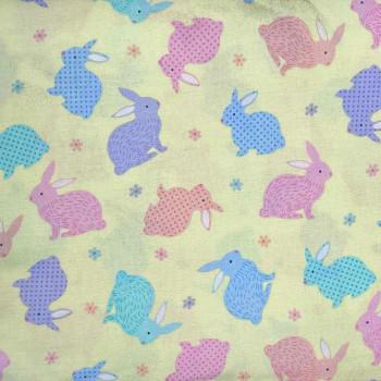 Benartex - Love Bunny - Tossed Bunnies - Lt Yellow