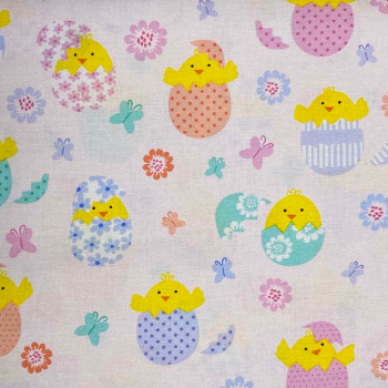 Benartex - Love Bunny - Hatching Chicks - Lt Pink