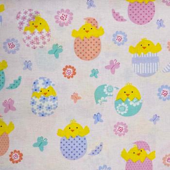 Benartex - Love Bunny - Hatching Chicks - Lt Pink