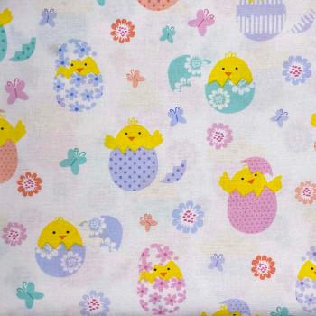 Benartex - Love Bunny - Hatching Chicks - White