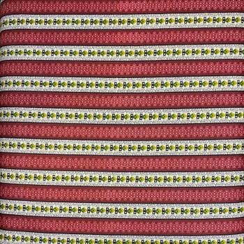 Washington Street Studios - Cross Quilt - Floral Stripes - Red