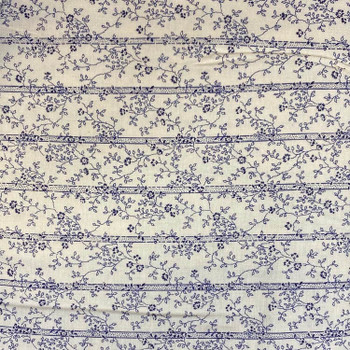 Washington Street Studios - Cross Quilt - Floral Stripe - Blue