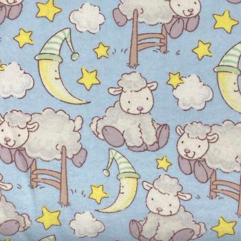 David Textiles - Dreamtime Nursery Flannel - Sleepy Sheep - Grey/Pink