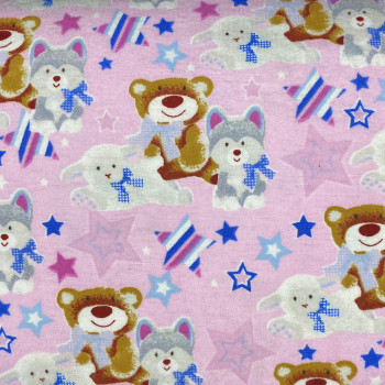 Mook Fabrics - Flannel Prints - Fox/Bear/Sheep - Pink