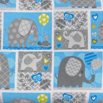 Studio E - Hello Baby Flannel - Elephants - Blue