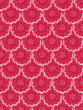 River's Bend - Cottage Blooms - Lace - Red