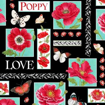 Henry Glass - Poppy Perfection - Poppy Love - Black