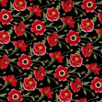 Henry Glass - Poppy Perfection - Tossed Poppies - Black