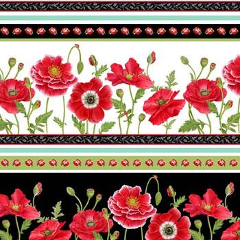 Henry Glass - Poppy Perfection - Border Stripe - Multi