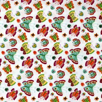 Henry Glass - Spring Awakens - Tossed Butterflies - White/Multi