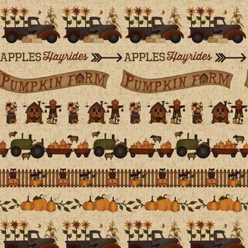 Henry Glass - Buttermilk Basins Pumpkin Farm - Border Stripe - Cream