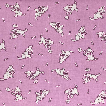 Henry Glass - Nana Mae 1930's - Tossed Dogs - Pink