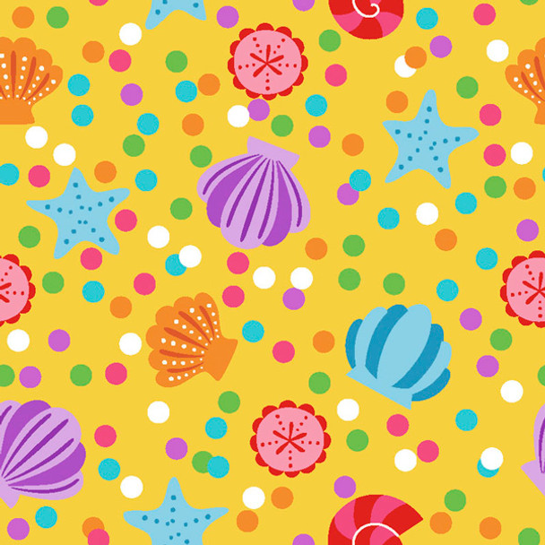 River's Bend - Mermaids & Friends - Shells - Yellow