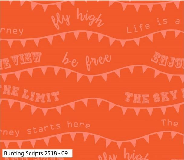 Craft Cotton Co - Hot Air Balloons - Bunting Script - Orange