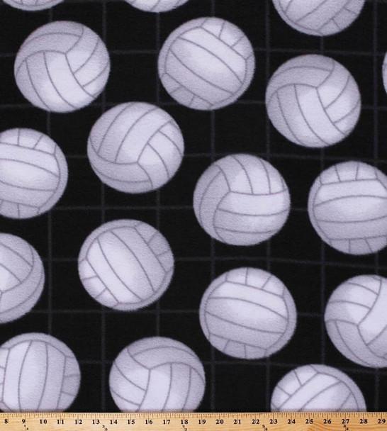 David Textiles - Fleece Prints - Volleyballs - Black/White