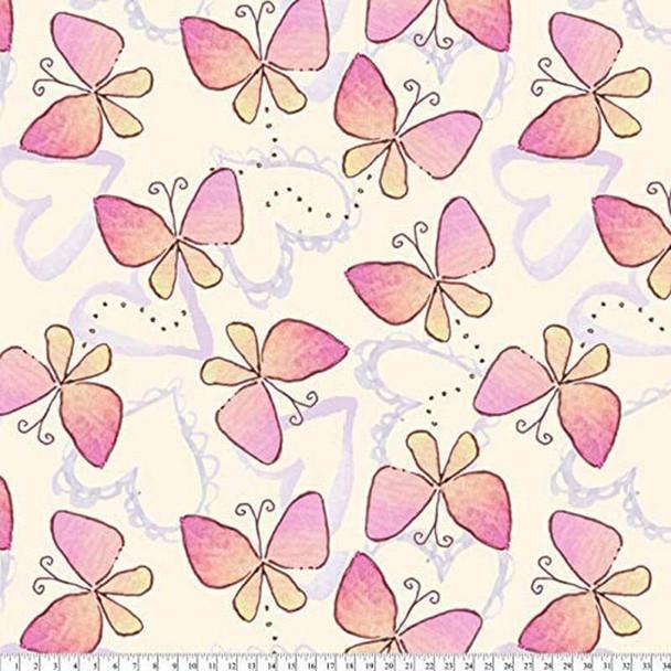 David Textiles - Fleece Prints - Regal Butterflies - Pink