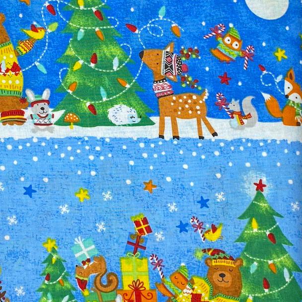 Timeless Treasures - Christmas Animal Scenes - Blue/Multi